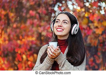 automne, portrait, girl, parc, heureux
