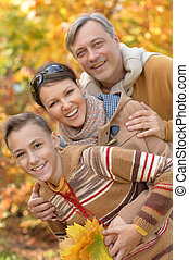 automne, portrait, parc, famille, heureux