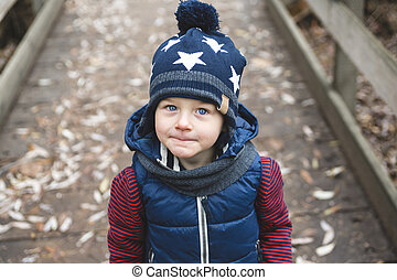 automne, portrait, parc, garçon