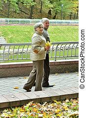 automne, portrait, personne agee, couple heureux, parc