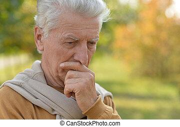automne, portrait, personne agee, parc, homme