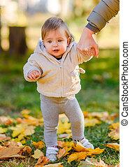 automne, portrait, petite fille