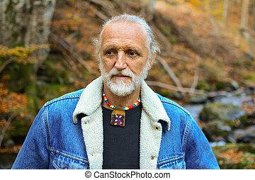 automne, portrait, vieil homme