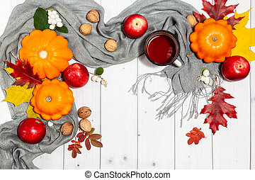 automne, potirons, confortable, fond