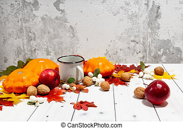 automne, potirons, pommes, fond