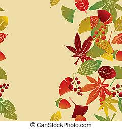 automne, pousse feuilles, fond