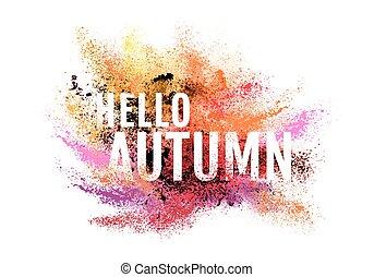 automne, poussière, vecteur, coloré, peinture