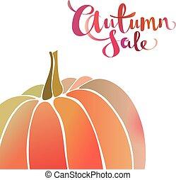 automne, promo, vente, pumpkin., effet, aquarelle, gradient, conception, fond, bannière
