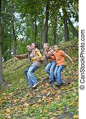 automne, quatre, amusement, avoir, famille