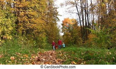 automne, quatre, courant, parc, famille