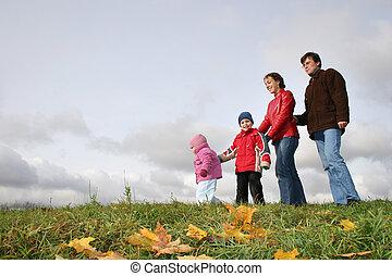 automne, quatre, famille