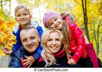 automne, quatre, fond, famille