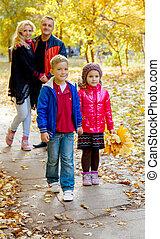 automne, quatre, marche, famille