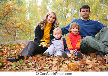 automne, quatre, parc, famille