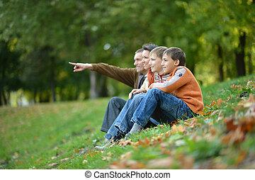 automne, quatre, parc, portrait famille