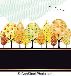 automne, résumé, arbre, carte voeux