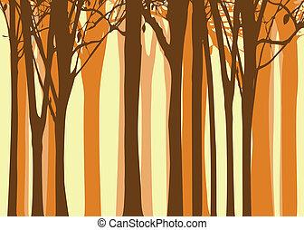 automne, résumé, arbre, fond