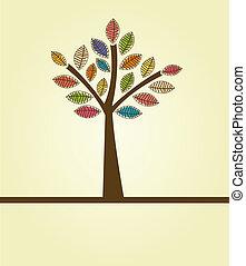 automne, résumé, arbre