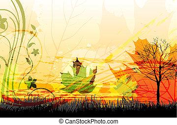 automne, résumé, carte