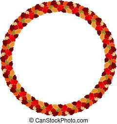 automne, résumé, eps10, leaves., cadre