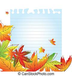 automne, résumé, feuilles, fond