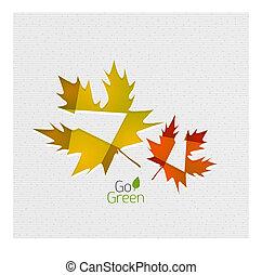 automne, résumé, papier, feuille, fond