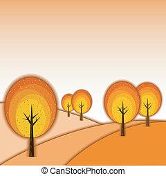 automne, résumé, paysage arbre