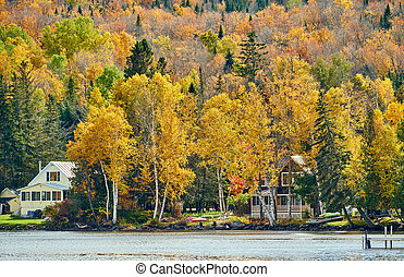 automne, rangeley, lac