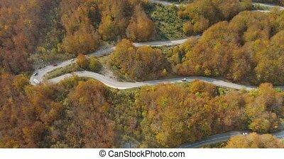 automne, route montagne, au-dessus, vue