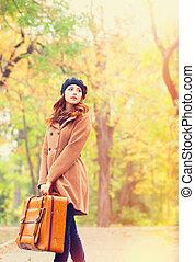 automne, roux, girl, extérieur, valise