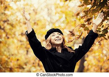 automne, roux, girl, park.