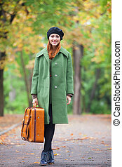 automne, roux, outdoor., girl, valise