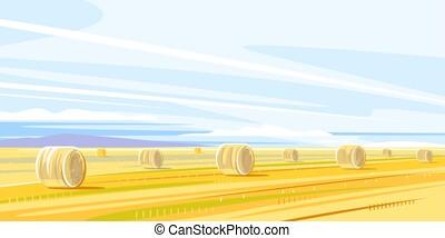 automne, rural, meules foin, paysage