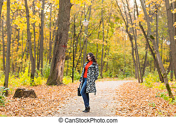 automne, sac, outdoor., girl