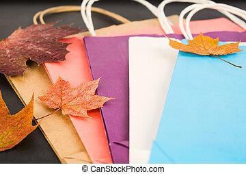 automne, sacs, papier, achats, feuillage