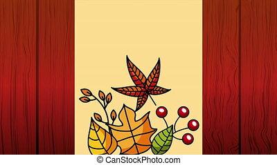 automne, saison, animation, bonjour, pousse feuilles