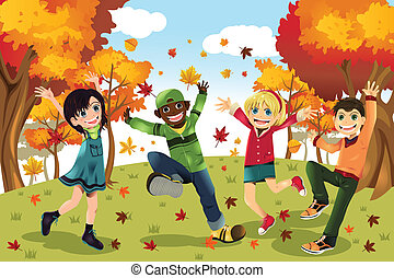automne, saison chute, gosses