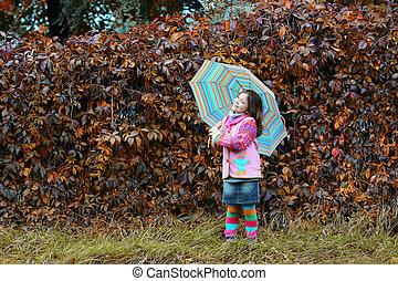 automne, saison, peu, parc, girl