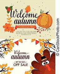 automne, saisonnier, accueil, carte
