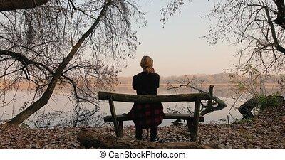 automne, scène, séance, banc
