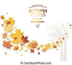 automne, silhouette, arbre, fond
