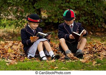 automne, soeur, lecture, feuilles, frère