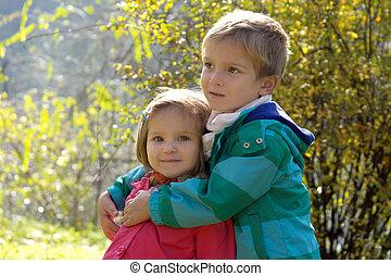automne, soeur, parc, frère, étreindre