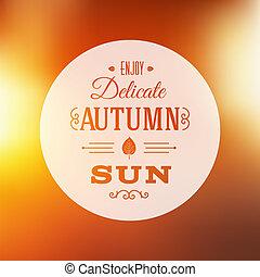 automne, soleil, résumé, vecteur, fond