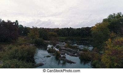 automne, sommet, rivière, vue
