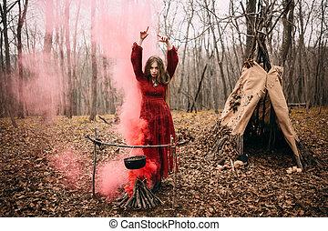 automne, sorcière, jeune, forêt