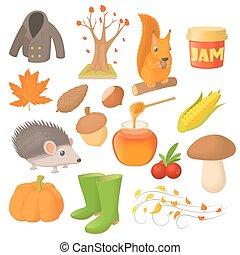 automne, style, ensemble, dessin animé, icônes