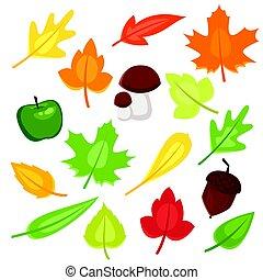 automne, style, ensemble, symboles, vecteur, dessin animé