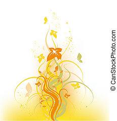 automne, stylique floral