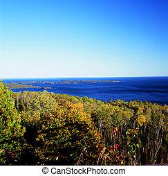 automne, supérieur, lac, panoramique